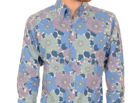 Blue Floral Retro Shirt
