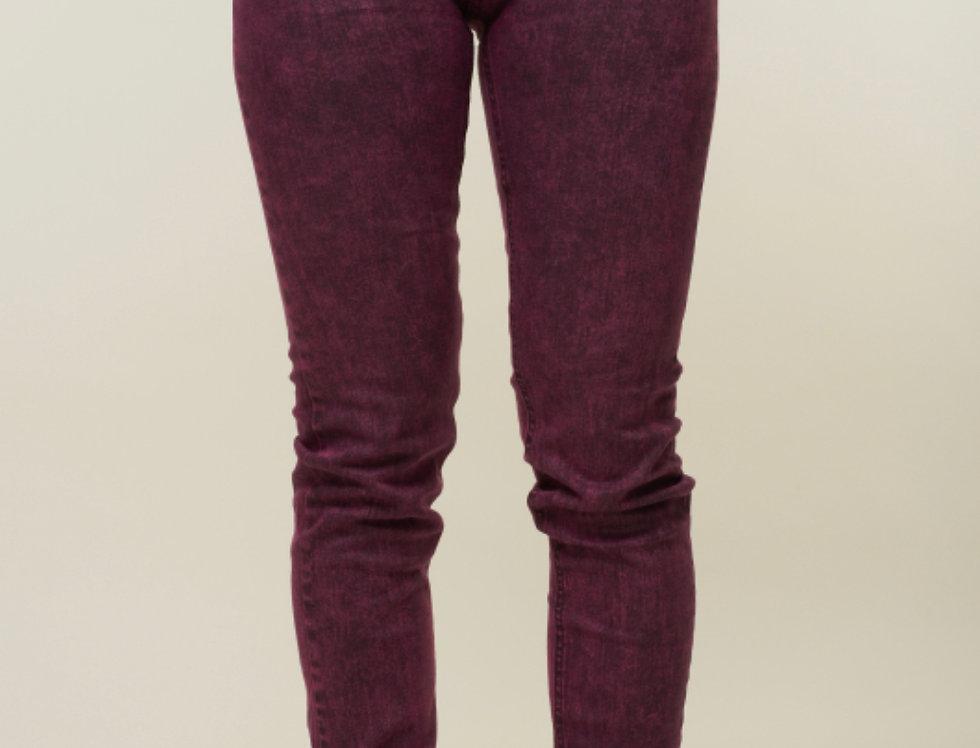 Criminal Damage Acid Wash skinny jeans - Burgundy