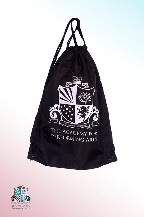Black nylon drawstring bag