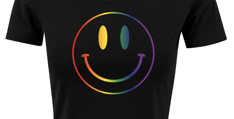 Smiley Face Cropped Tee for Women - black