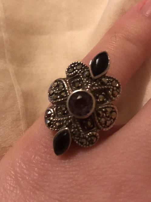 Marcasite, Onyx, and Amethyst Ring