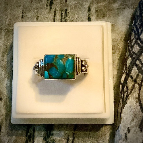 Copper Turquoise Ring  Sz6.5