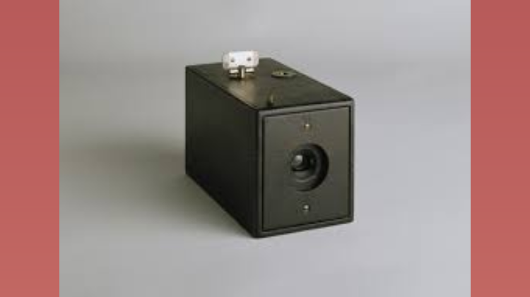 An old photo of one of the first cameras invented.