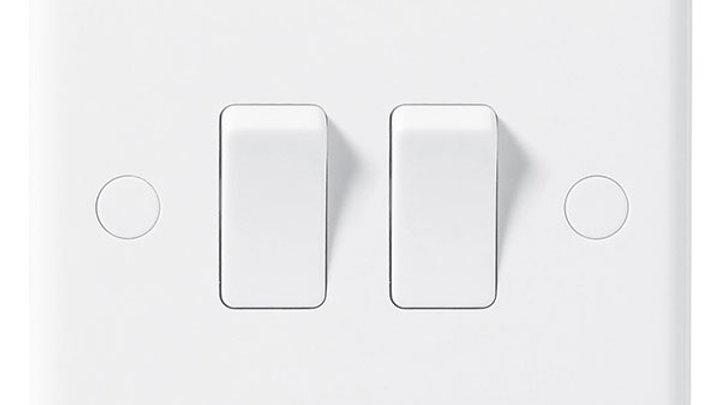 2 Gang 2 Way Light Switch - White
