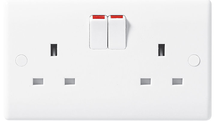 2 Gang Switched Socket - White