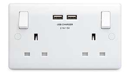 2 Gang Switched Socket with Twin USB Outlets - White