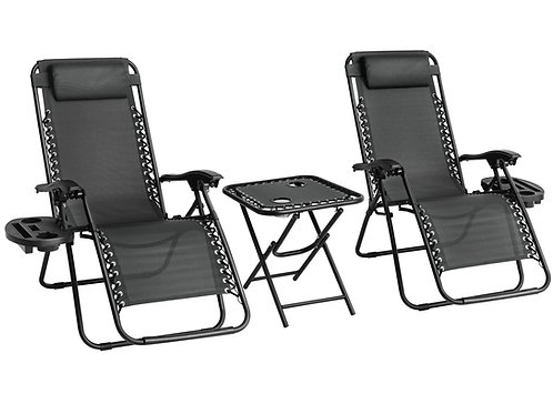 Set of 2 Zero Gravity Chairs with Table - Black
