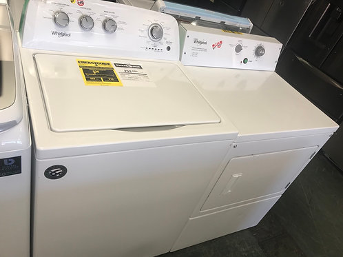 Whirlpool brand new open box top load washer dryer set.
