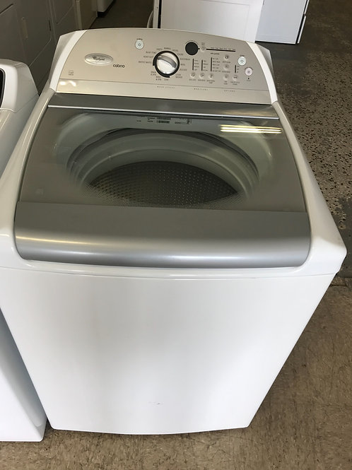 Whirlpool brand refurbished top load washer works great with warranty.