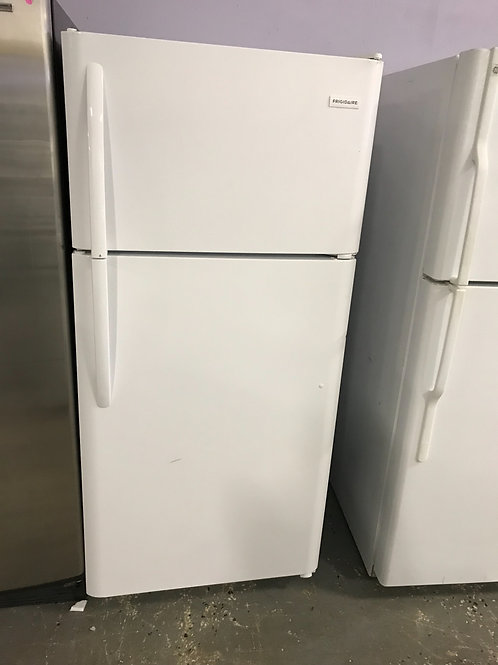 Frigidaire brand refurbished top bottom fridge works great.