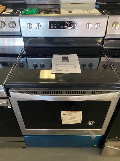 Whirlpool new open box stainless steel electric range with convection oven.