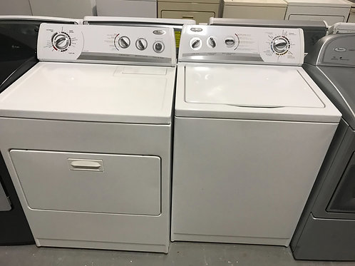 Whirlpool brand refurbished top load washer dryer set works great with warranty.