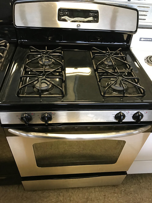 Ge brand refurbished stainless steel gas stove works great 60 days warranty.