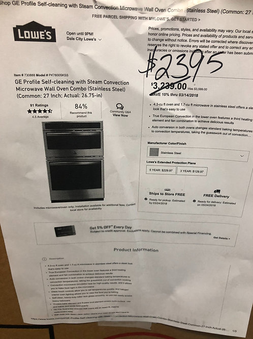 GE microwave wall oven NEW