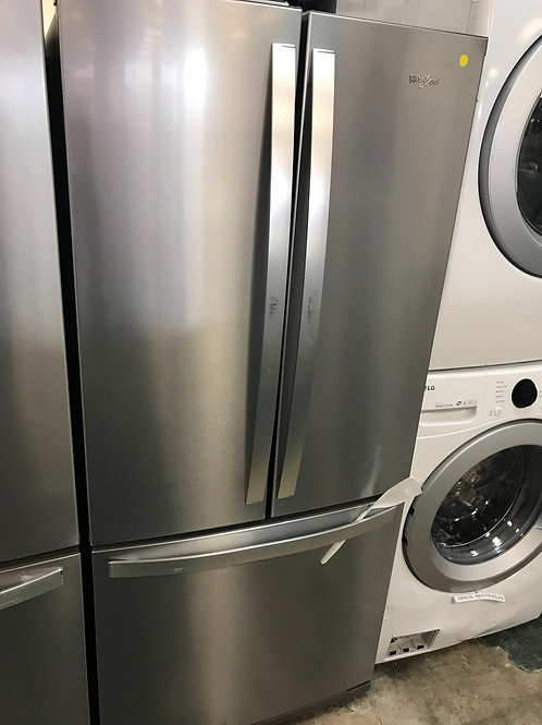 """Whirlpool brand new stainless steel 30"""" French door refrigerator with warranty."""