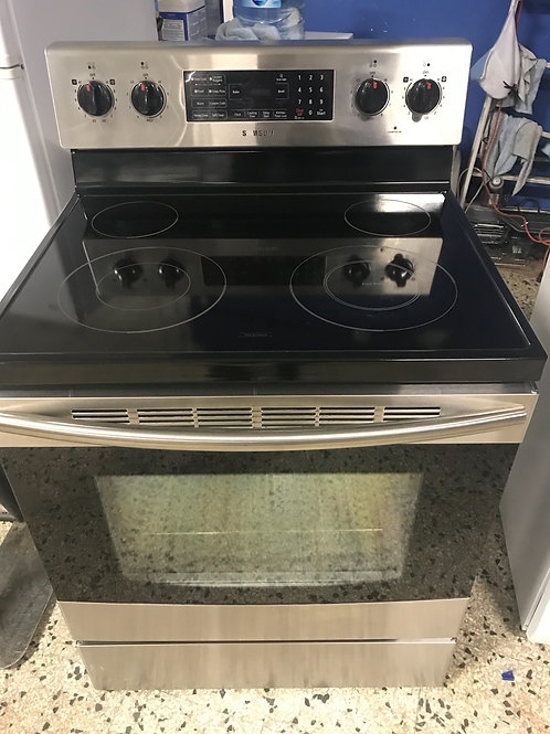 Samsung brand refurbished stainless steel electric glass top stove.