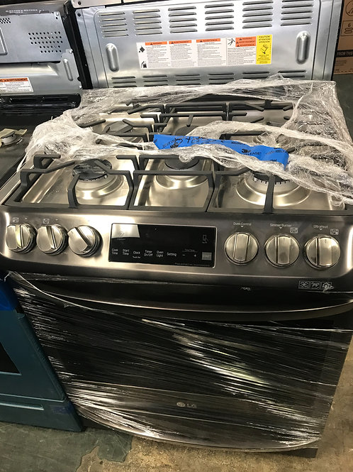 LG brand new open box black stainless slide in Gas stove.