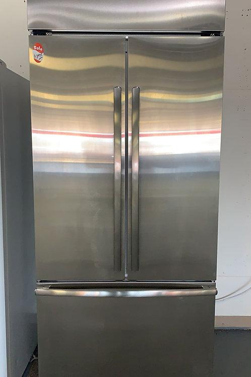 "new "" monogram staibnless steel built in french door fridge"