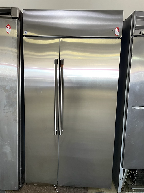 """Ge cafe 42"""" Built in refrigerator stainless steel side by side."""