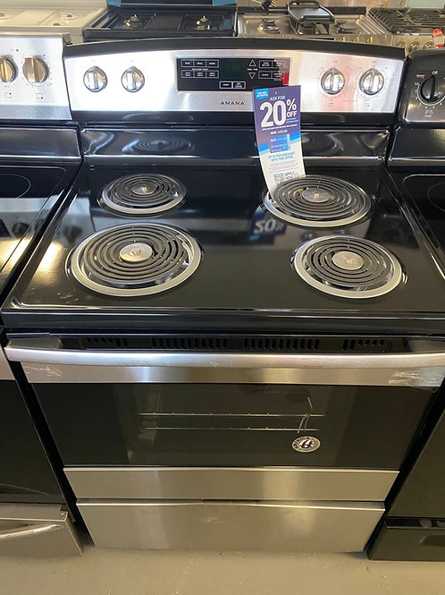 Amana new stainless steel electric coil top stove working condition with warrant