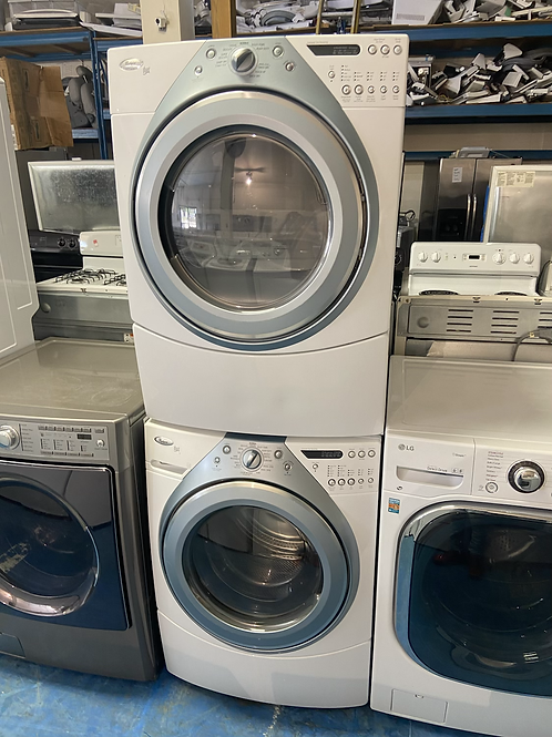 """27""""whirlpool stackable washer dryer set great working order with 60 days warrant"""