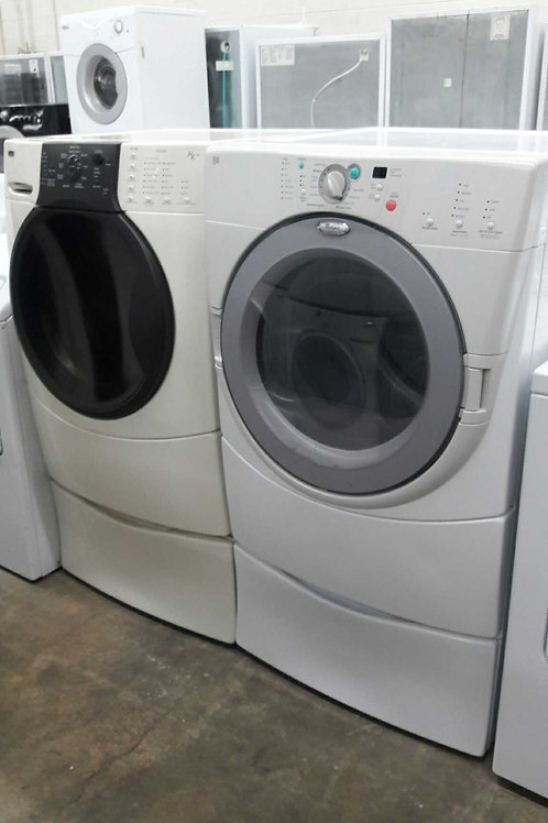 front load washer and dryer with pedestal