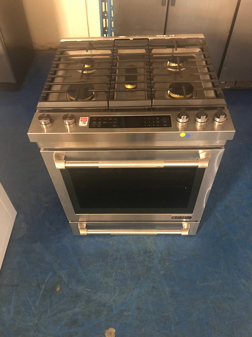 """30""""new scratch and dent jenair stainless slide in 5 burner gas stove 1 year warr"""