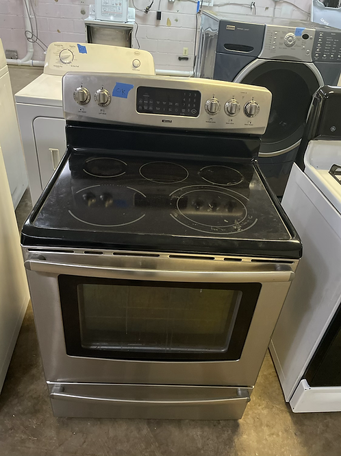 Kenmore used stainless steel electric glass top stove 45 days warranty.