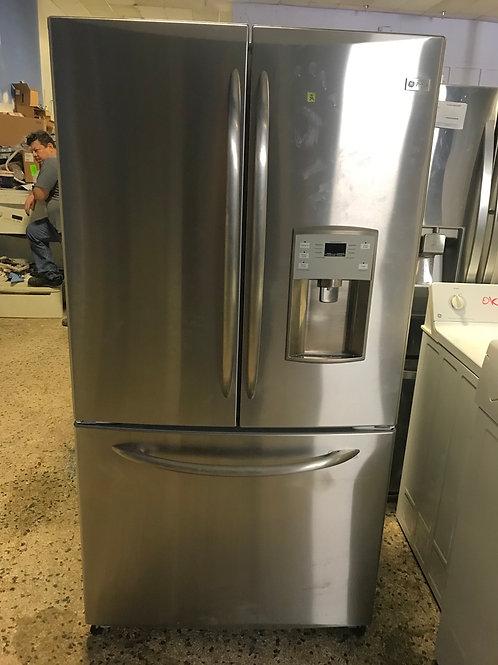 "Ge profile refurbished stainless steel 36"" French door refrigerator."