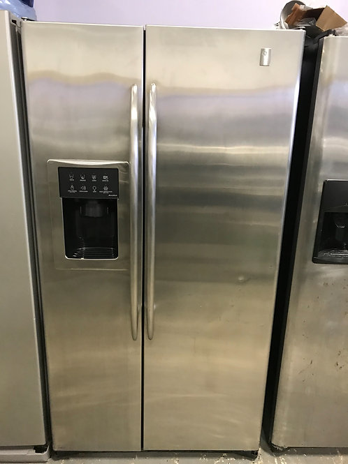 Ge profile refurbished side by side refrigerator stainless steel works great 36""