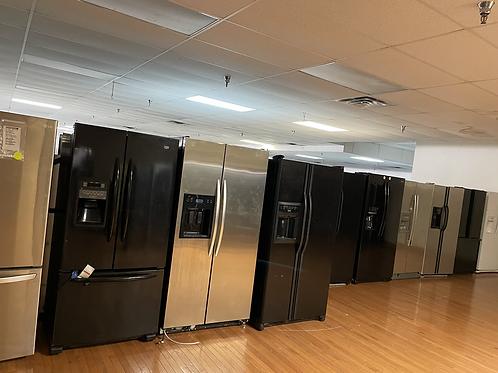 Refurbished black white and stainless steel refrigerators starting price $350.
