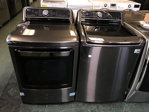 LG brand new open box black stainless top load washer dryer set 1 year warranty.