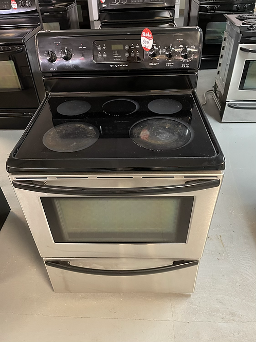 Frigidaire refurbished electric glass top range stainless steel.