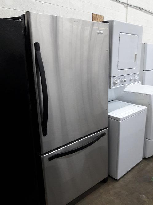 "33""width whirlpool bottom freezer stainless steel"