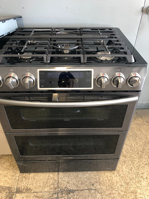 """30"""" NEW SAMSUNG BLACK STAINLESS STEEL STOVE GAS DOUBLE OVEN WITH 1 YEAR WARRANTY"""
