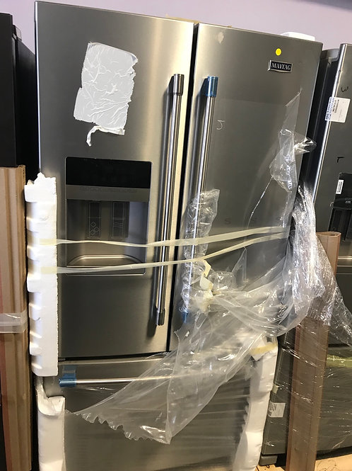"Maytag Brand new open box stainless steel 36"" French door refrigerator."