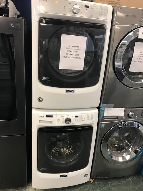 Maura brand new open box scratch and dent stackable washer dryer set.