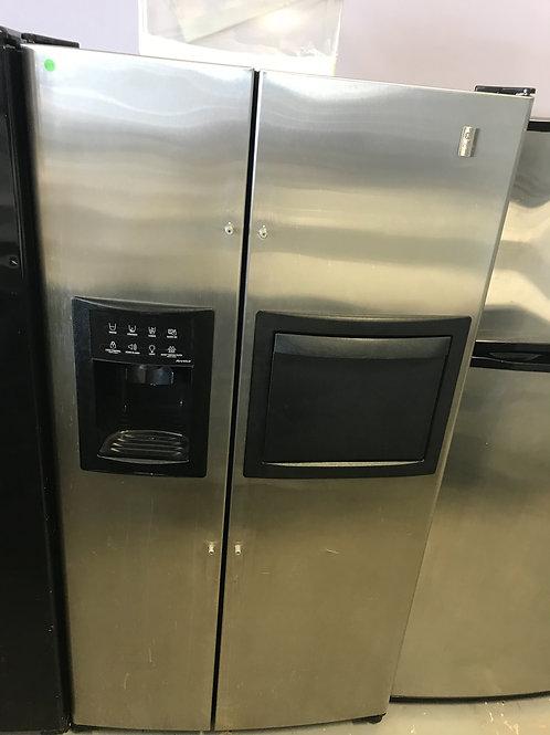 Ge profile refurbished side by side refrigerator.