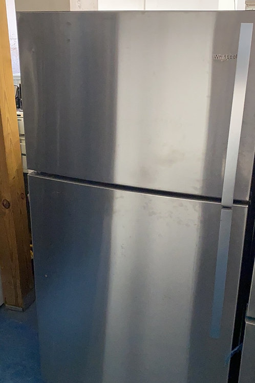 "Whirlpool 30"" stainless top bottom fridge with warranty"