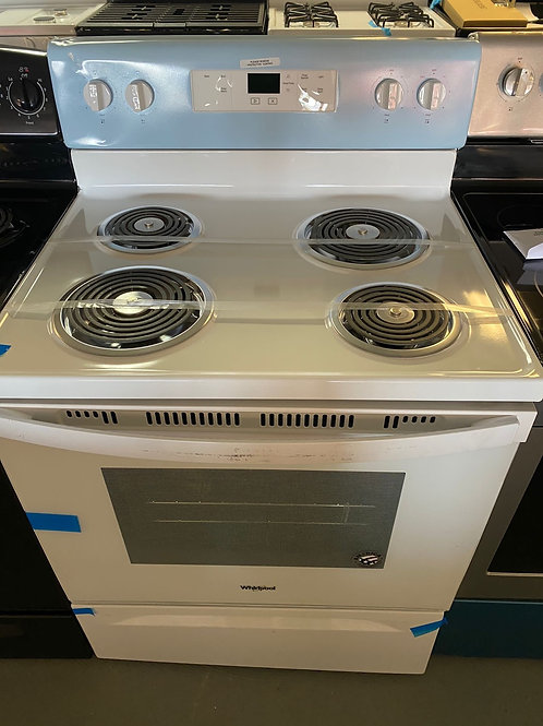 Whirlpool new scratch and dent white coil top stove with 1 year warranty.