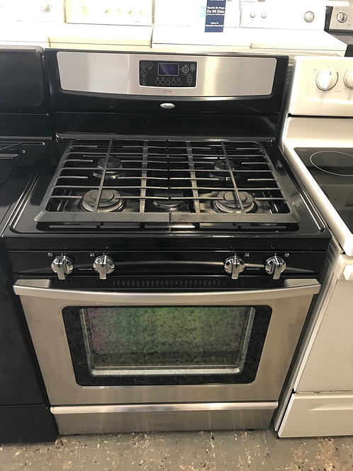 Whirlpool brand refurbished stainless steel gas stove with warranty.