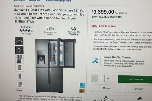 "36""brand new Samsung flex blk stainless Frenchdoor fridge 1 year warranty"