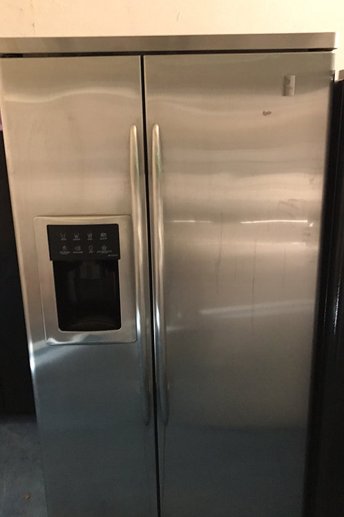 GE PROFILE STAINLESS SIDE BY SIDE FRIDGE WATER/ICE ON DOOR WITH 90 DAYS WARRANTY