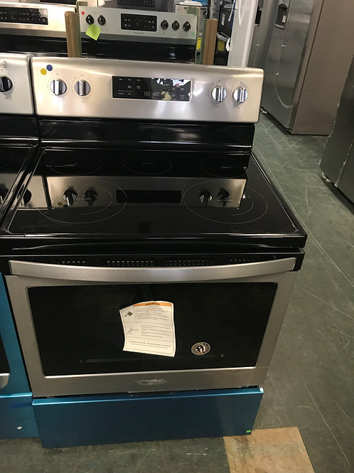 Whirlpool brand new open box stainless steel electric stove with warranty.