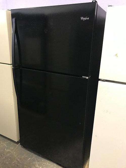 "Whirlpool brand refurbished black top and bottom fridge 33"""