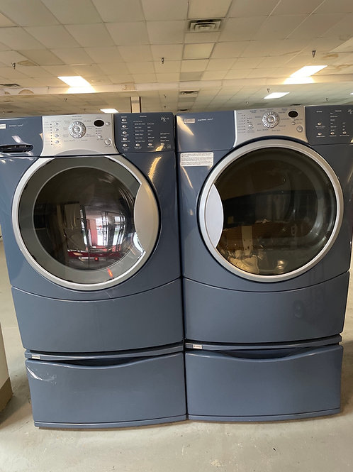 Kenmore used electric frontload washer dryer set 45 days warranty.