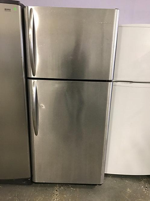 Frigidaire brand refurbished stainless steel top bottom fridge works great.