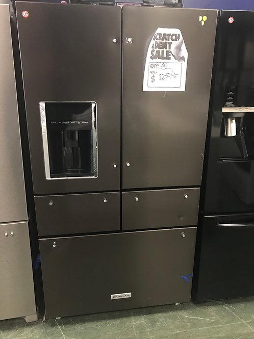 Kitchen aid brand return model 5 door French door refrigerator with warranty.