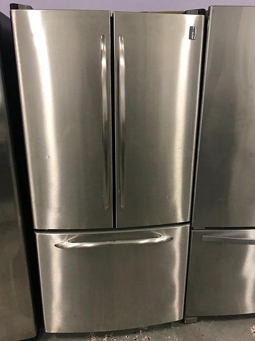 "Ge profile brand refurbished stainless steel French door refrigerator 33""."
