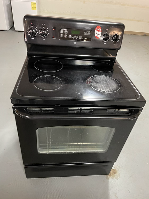 Ge refurbished black electric glass top stove working condition with warranty